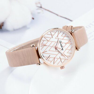Women Stylish Grids Pattern Dial Plate rose gold border Leather Strap watch KM