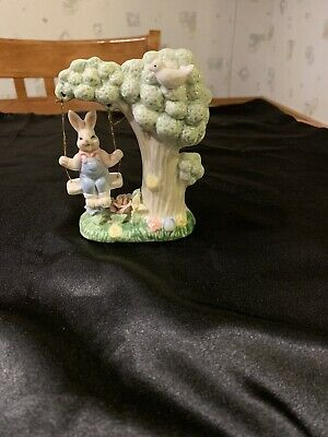 Easter bunny rabbit On The Tree Swing  #T3