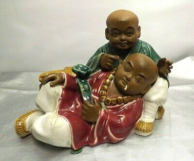 Antique Chinese Mud Men-Son Of Nobleman Sleeping W/ Ruyi Sceptor And Scholar