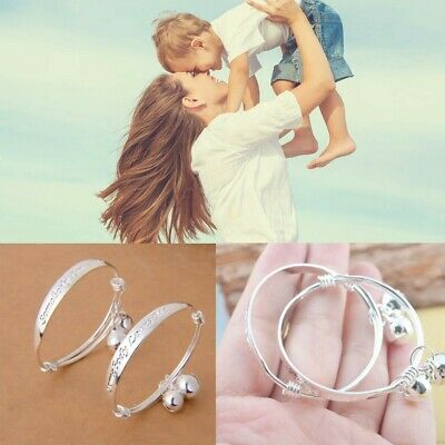 1Pair Kids Love Jewelry Gift Bell Bangle  Baby Silver Plated Bracelet