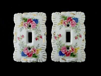 Vintage Japanese Porcelain Light Switch Plate Hand Painted Floral Design