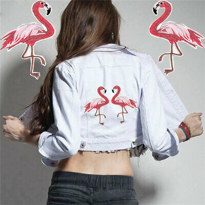 Craft Clothes Iron-on Fabric Apparel Applique Red Flamingo Patch Badge Sticker