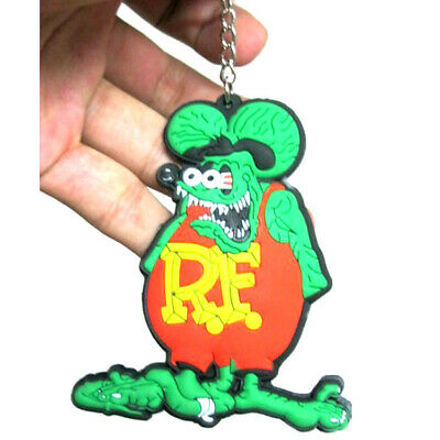Rat Fink Green Double Sided New Gift Rare Key Chain Soft Rubber Action Figure