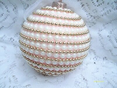 Beautiful Rose Pink Gold  Balls White Pearls Easter Ornament Shabby Chic