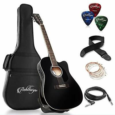 Ashthorpe Full-Size Cutaway Thinline Acoustic-Electric Guitar Package - Black