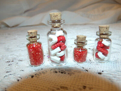 MINI Tiny Red Christmas Candy Canes Glass Bottles Miniature Jar Cork