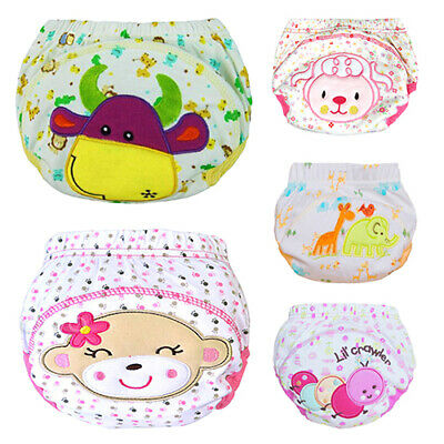 Baby Cotton Training Pants Reusable Cloth Washable Infant Nappies Diaper Soft
