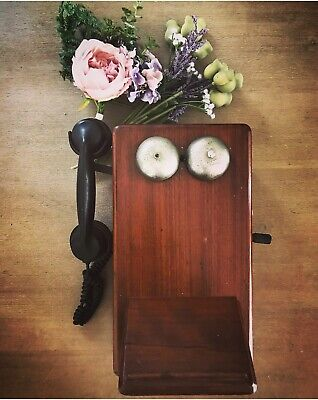Antique Collectable Vintage Wooden Wall Phone Telephone 1930's Era.
