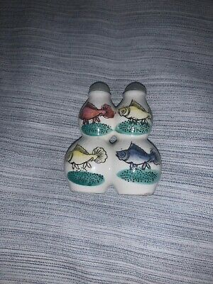 Antique Chinese Hand Painted Fish Porcelain Snuff Bottle Hallmarked