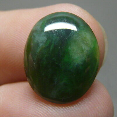 5.5 ct Genuine Jadeite Jade (Natural-Type A) Dark Green-White Cabochon