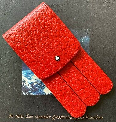 New In Box Vintage Montblanc Baccarat Three-Pen Glove Case In Red Leather