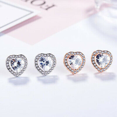 Heart Crystal Stone Stud Earrings 925 Sterling Silver Rose Gold Jewellery Gift