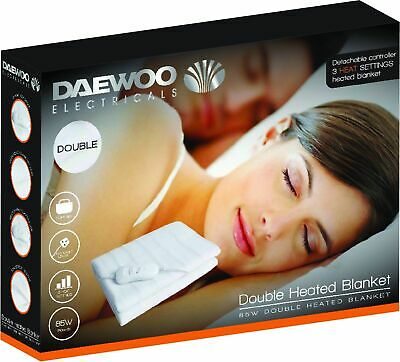 Daewoo White Single, Double & King Size Home Washable Heated Electric Blanket