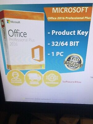 Microsoft Office 2016 Professional Plus Vollversion 32/64 key per email