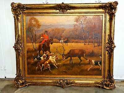 Antique French Gilt Framed Hunting Scene MAGNIFICENT. Huge oil painting chateau