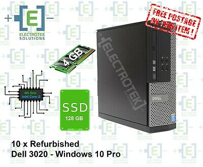 10 x Refurbished Dell Optiplex 3020 intel Core i3 SFF 4GB RAM 128GB SSD