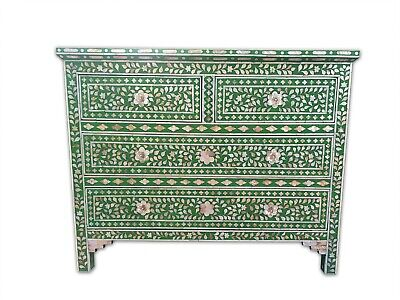 Mother of pearl inlay sideboard 4 drawer Indian handmade floral   pattern