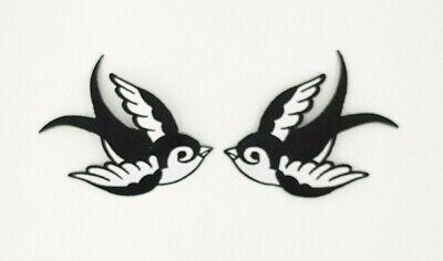 PAIR BLACK /& WHITE SWALLOWS /& LOVE IN HEART SCROLL COMBO Iron On Sew On Patch