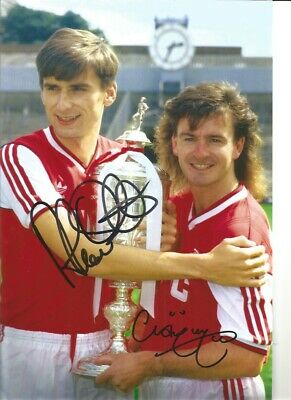 Alan Smith Charlie Nicholas Arsenal hand signed authentic football photo S005A