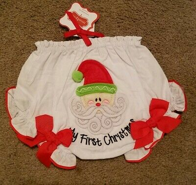 Mud pie baby girl My First Christmas bloomers 0-6