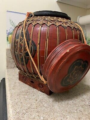 19th Century Large Chinese Woven And Lacguered Rice Or Wedding Basket
