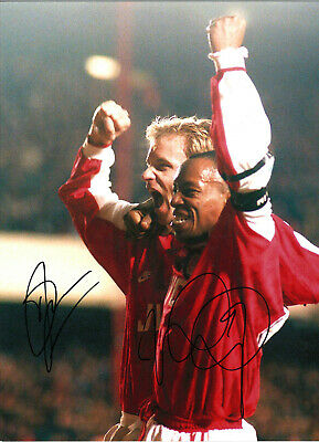 Ian Wright And Dennis Bergkamp Arsenal hand signed authentic football photo S019