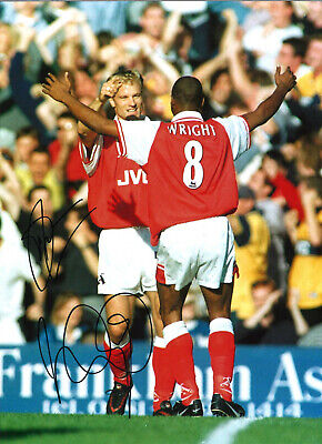 Ian Wright, Dennis Bergkamp Arsenal hand signed authentic football photo S019A