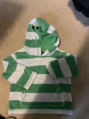 Mini Boden Boys Grey/Green Striped L/S Hoodie Age 2-3 Years