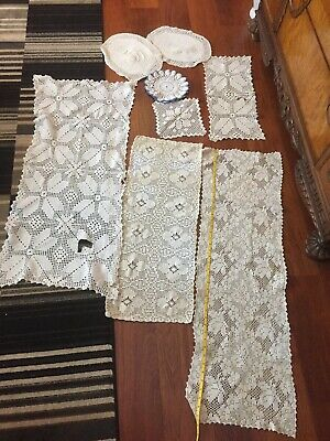 8 Pcs Lot Vintage Crocheted Runners Placemats Doilies White Blue