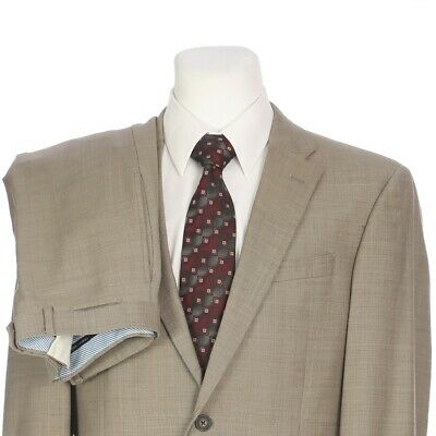 Tommy Hilfiger Heather Beige Pure Wool Two Button Suit Mens 40L 40 Long 32x34