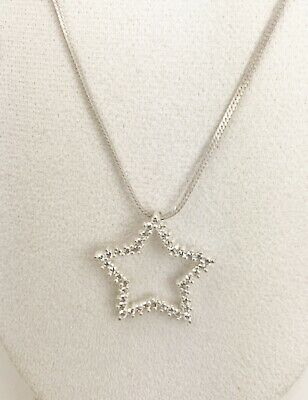 Sterling Silver Star Pendant Necklace with Cubic Zirconia insets Stamped 925