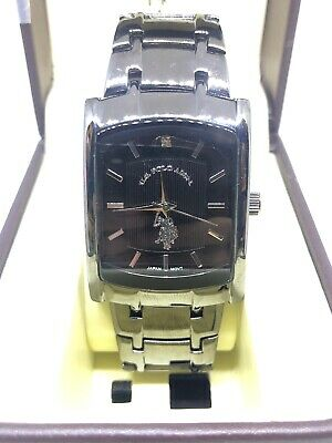 US Polo Assn Mens USc80198 Black Silver Accent Analog Watch #CC236
