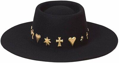 Lack of Color Women/'s Seaside Wool Boater Hat with Gold Conchos