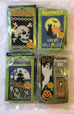Lot Of 4 The Beadery Halloween Beaded Banner Kits All Different