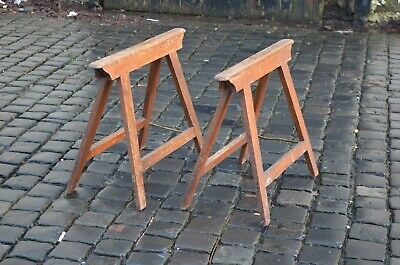 Pair Early 20th Century Antique Wooden Coffin Casket Stands Trestles