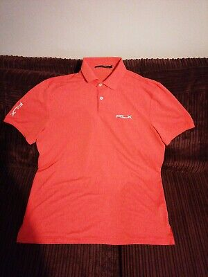 RLX Ralph lauren mens polo tshirt size L orange short sleeve