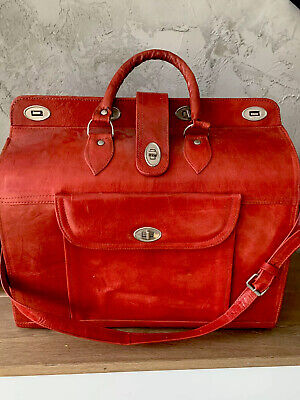 New Vintage Red Moroccan Holdall Bag/ Genuine Handmade Leather, Luggage Large