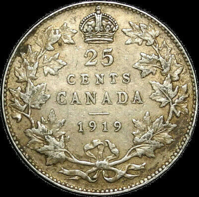 Canada 1919 25 Cents George V Silver 25 Cent 25c Nice Coin!