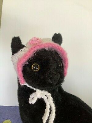CAT HAT, CAT EASTER BONNET,  Hand Knitted,  Pink and White