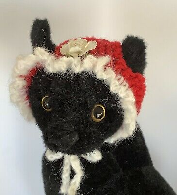 CAT HAT, CAT EASTER BONNET,  Hand Knitted,  Red and White