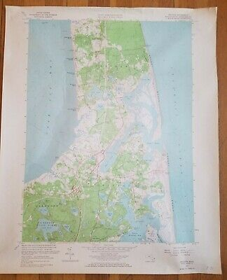 """Vintage 1962 Eastham and Orleans Cape Cod Mass US Geological Survey Map 22""""x 27"""""""