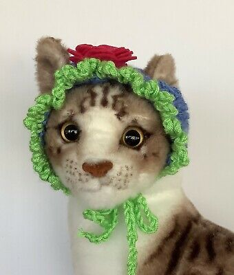 CAT HAT, CAT EASTER BONNET,  Hand Knitted,  Blue and Green