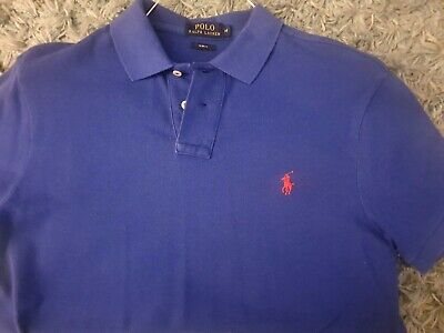 Ralph Lauren Polo Shirt Slim Fit Navy And Red Medium