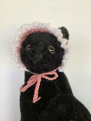 CAT HAT, CAT EASTER BONNET,  Hand Knitted, Mauve and White