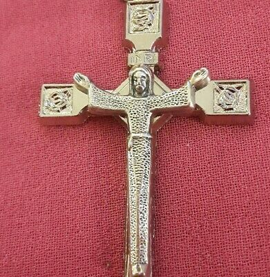 "Lrg 2 1/8""Sterling Silver Filled Pendant Easter Risen Rose Crucifix Flower Cross"