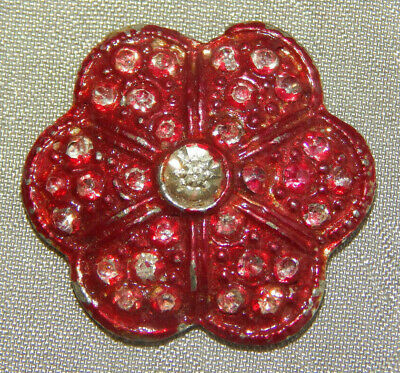 """Antique Button Tinted Red Pot Metal with Rhinestone Paste~~Aprx:7/8""""~~#824-C"""