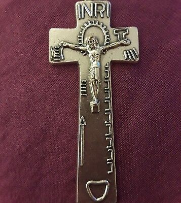 "Lrg 2 1/4"" Sterling Silver Filled Irish Penal Celtic Crucifix Cross Pendant Vtg"