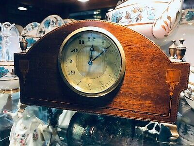 Nice Swiss Made Inlaid Banded Wind Up Mantle Clock Ca 1940'S