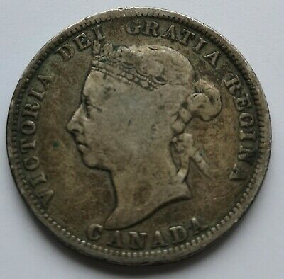 *** Canada  Queen  Victoria  25 Cents  1890H  ***  Toned   *** Better  Date ***