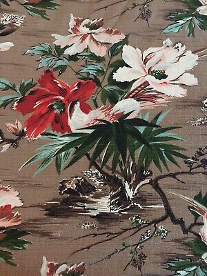 Two Huge Vintage Mid Century Tropical Floral BARKCLOTH Drapes 89x81